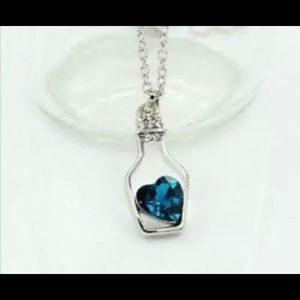 Jewelry - Sapphire Heart in A Bottle Pendant Necklace